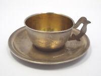 Vtg Russian 875 Silver Gilt Engraved Floral Design Tea Cup & Saucer, Post 1958