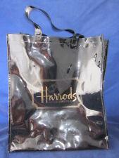 """HARRODS Knightsbridge PVC Large Tote Shopping Travel Shopper Bag Black 15"""" x 17"""""""