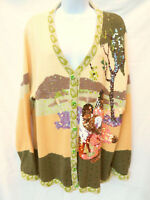 STORYBOOK KNITS Womens Sequin Gauguin When Will You Marry Cardigan Sweater 2X