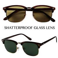 ShadyVEU- Unisex Round Half Semi Rimmed Mens 80's Sun Glasses Glass Lens Shades