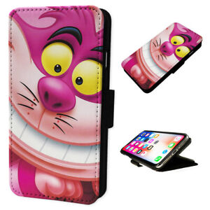 Cheshire Cat Smiling Pink - Flip Phone Case Wallet Cover Fits Iphone / Samsung