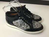 Jimmy Choo, Miami, Shoes, Trainers Sneakers, Black, Glitter, Size Uk 4.5 Eu 37.5