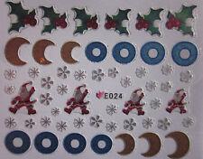 Navidad Nail Art Pegatinas Calcomanías Copos De Nieve Santa Pan De Jengibre Hombre bastón de caramelo