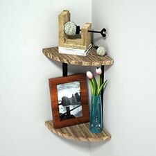Corner Shelf 2 Tier Wall Mount Floating Shelves By RooLee Rustic Wood Storage