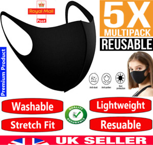 Pack 5 Face Mask Black Reusable Washable Breathable Dust Mouth Cover, CHEAP UK