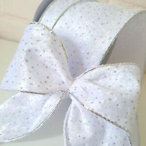 White Velvet Fur Christmas Ribbon Silver Edge & Glitter Dots Bow Tree Wired