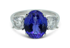 Tanzanite and Diamond Three Stone Ring 1.04ct + 2.70ct Tanzanite Platinum