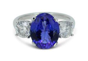 Tanzanite and Diamond Three Stone Ring 1.04ct + 2.70ct Tanzanite Platinum