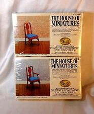 DOLL HOUSE OF MINIATURES 2 DINING ROOM KITS, QUEEN ANNE SIDE CHAIRS & ARM CHAIRS