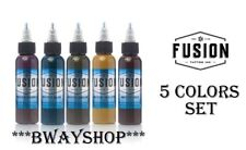 FUSION Tattoo Inks Muted Tone Set of 5 Colors 1 oz 30 ml Bottle Authentic Zombie