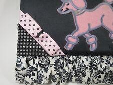 Hand Made Black Purse Clutch Pink Poodles Rhinestone Ruffle