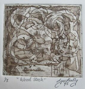 "LYNN KEATING AUSTRALIAN ETCHING ""WOODSTOCK"" BROWN 1995 A"