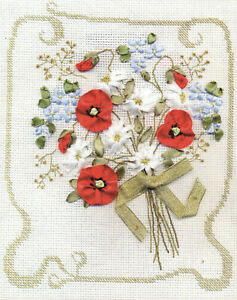 Ribbon Embroidery Kit - Panna - Compliments Poppies - 20.0 x 24.0cm - C-0775