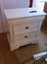 Large White 2 Drawer Bedside Table - Perth