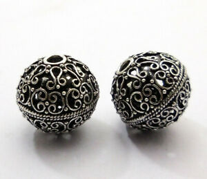 3 PCS 20MM  BALI FILIGREE BEAD ANTIQUE STERLING SILVER PLATED  32 DMH-179