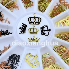 metal nail art decoration foil decal nails tools gold black mperial crown design