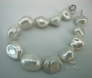 HS Keshi South Sea Cultured Pearl 12.8x16.9mm Bracelet 7.5 inches 18K White Gold