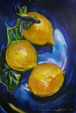 "STUNNING DORANNE ALDEN ORIGINAL STILL LIFE ""Lemons on Blue"" WATERCOLOUR PAINTING"