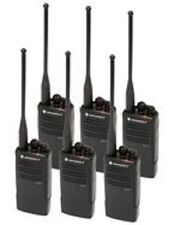 6 New Motorola RDU4100 RADIOS & CHARGERS & BELT CLIPS 10 CHANNEL  4 WATT UHF