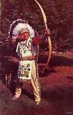 Indian In Tribal Dress Bow And Arrow Old Skill