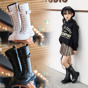 Kids High Ankle Boots Girls Winter Snow Chelsea Shoes Non-Slip Zip Leather Boots