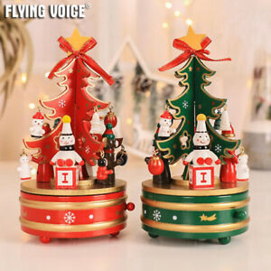 Wood Rotating Christmas Music Box Snowman Christmas Tree Xmas ♫Merry Christmas♫