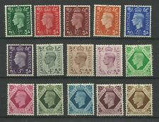 1937/47 Full Set of 15 Values of Dark Colours, Sg 462-475, Mounted Mint.