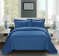 HIG 3 Piece Turquoise Oversized Bedspread ESTANCIA Embossed Coverlet Set