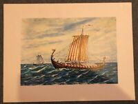Kunstdruck Ruderboot gemalt um 1886 Poster 44,5 x 33,5 auf weißem Papier (M2)