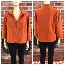 Mycra Pac Orange Faux Suede 3/4 Zip Packable Drawstring Jacket Size Small