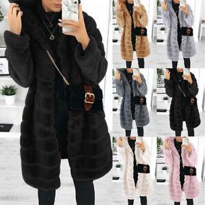 Womens Faux Fur Long Jacket Winter Warm Coat Ladies Overcoat Hooded Outwear Top