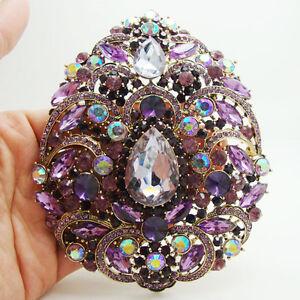 Vintage Style Luxury Violet Flower Drop Brooch Pin Rhinestone Crystal Pendant