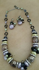 Designer Madame Mystique Green Lilac Black Faceted Beads Choker Necklace - Italy