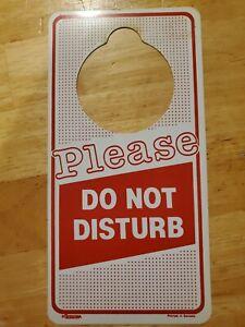 Vintage Please Do Not Disturb No Smoking Plastic Door Knob Hanger Sign