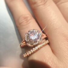 925 Sterling Silber Ring Set zwei Ton 14K Solid Rose Gold Weiß Saphir Diamant vf