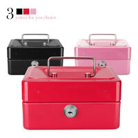 Cash Box Money Bank Deposit Steel Tin Security Safe Petty Cash Lockable +2 Keys