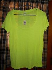 VICTORIA'S SECRET NEW PINK SHORT SLEEVE T-SHIRT NEON GREEN TOP SIZE SMALL