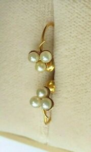 9ct Yellow Gold Antique Pearl Drops Screw Back Earrings Nice Cleansed & Rare.