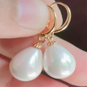 Natural Pearl gold Earrings eardrop 18K Chain girl Gift Jewelry Cultured Lucky