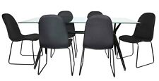 Zoot 7 Piece 1800x900 Clear Glass Black Dining Setting - BRAND NEW