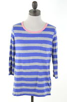 GAP Womens Top 3/4 Sleeve Size 10 Small Grey Purple Stripes Cotton Oversize