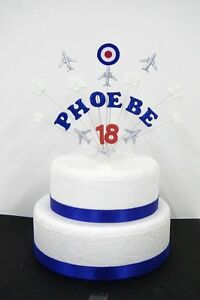 Aeroplane birthday cake topper / decoration personalised name and age