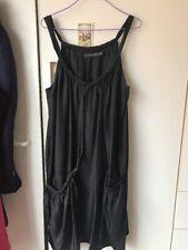 Arthur Galan Black 100% Silk Relax Fit Flowy Singlet Dress-10
