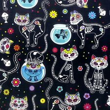 Day of the Dead Kitties from Timeless Treasures 100% cotton fabric C4159 Black