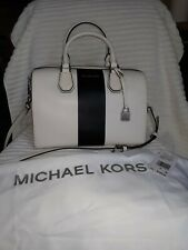 Michael Kors KORS STUDIO Center Stripe MERCER MD Duffle SILVER Hardware NWT