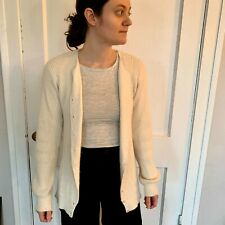 Women's Vintage Silk and Angora Cardigan in cream, size S