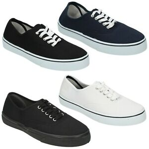 MENS LACE UP SPOT ON CASUAL SUMMER SHOES CANVAS PUMPS A2108 £5.99