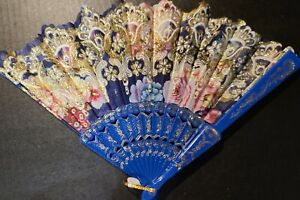 #110 Chinese fan folded party blue pink flowers white with gold glittered accent