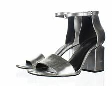 855 Alexander Wang Abby Silver Leather Cut Out Heel Sandal Women's Sz 38 M