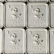 Lot 30 X 1 Gram .999  Fine Pure Silver Bar Bullion / Rose - I love U  WPT446 oz